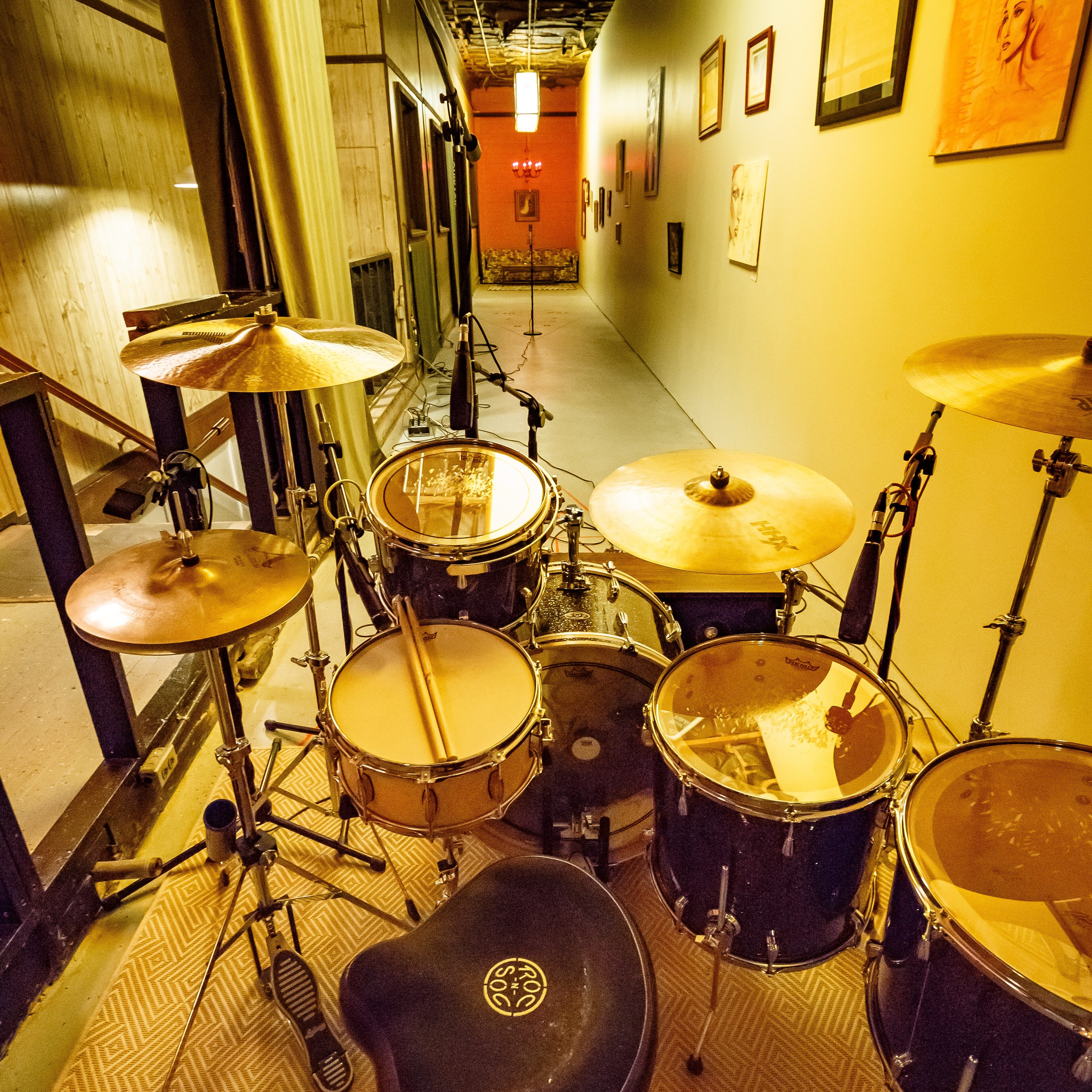 Drums in large hallway at Welcome to 1979 in Nashville